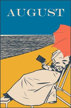 cartell vintage del mes d'agost